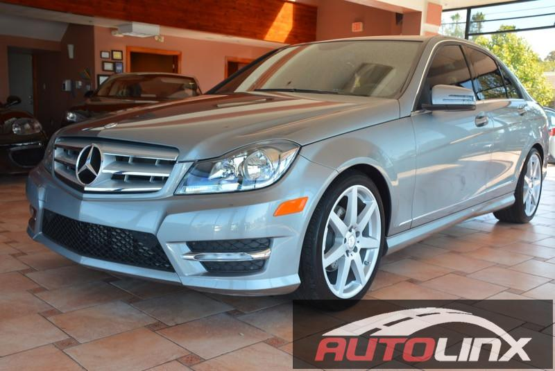 2013 MERCEDES C-Class C250 Sport Sedan 7-Speed Automatic Silver Black Bluetooth Hands-Free Po